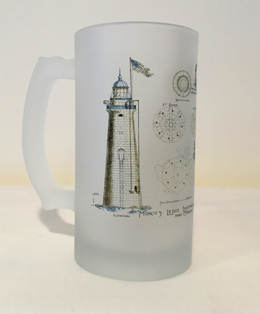 Colorful Frosted Glass Mug of Minot's Light Architectural Diagram - That Fabled Shore Home Decor