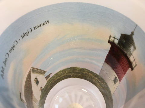 Colorful Frosted Glass Mug Of Nauset Light on Cape Cod - That Fabled Shore Home Decor