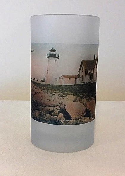 Colorful Frosted Glass Beer Mug Of Ned's Point Light in Mattapoisett, MA - That Fabled Shore Home Decor