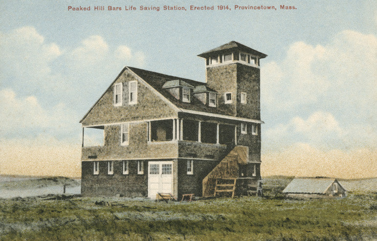 Provincetown - Peaked Hill Bars Life Saving Station Night Light - That Fabled Shore Home Decor