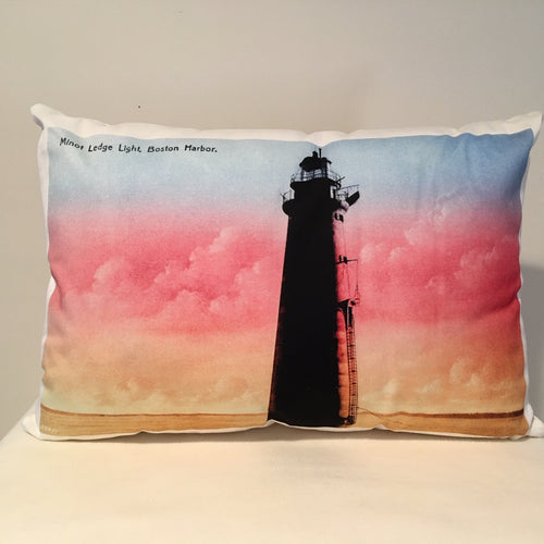 Colorful Cotton Twill Pillow Of Minot Light in Massachusetts Bay - That Fabled Shore Home Decor