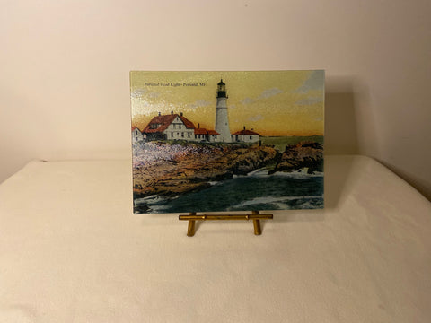 Portland Head Light As A Colorful Tempered Glass Cutting Board - That Fabled Shore Home Decor
