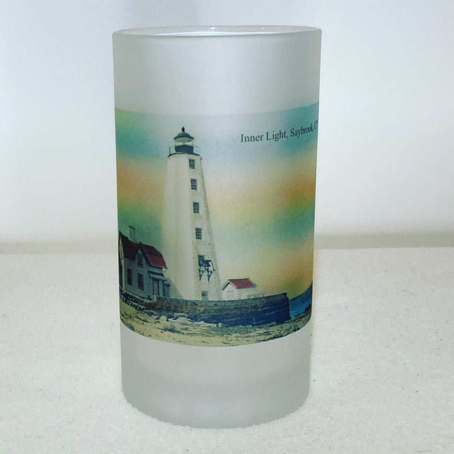 Colorful Frosted Glass Beer Mug of Saybrook, Connecticut's Inner Light.