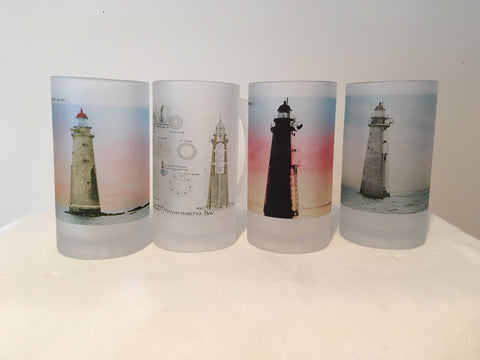 Colorful Frosted Glass Set of 4 Minot Light Beer Mugs - That Fabled Shore Home Decor
