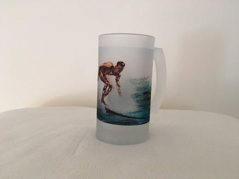 Colorful Frosted Glass Beer Mug of Hawaiian Surf Rider - Circa 1922 - That Fabled Shore Home Decor