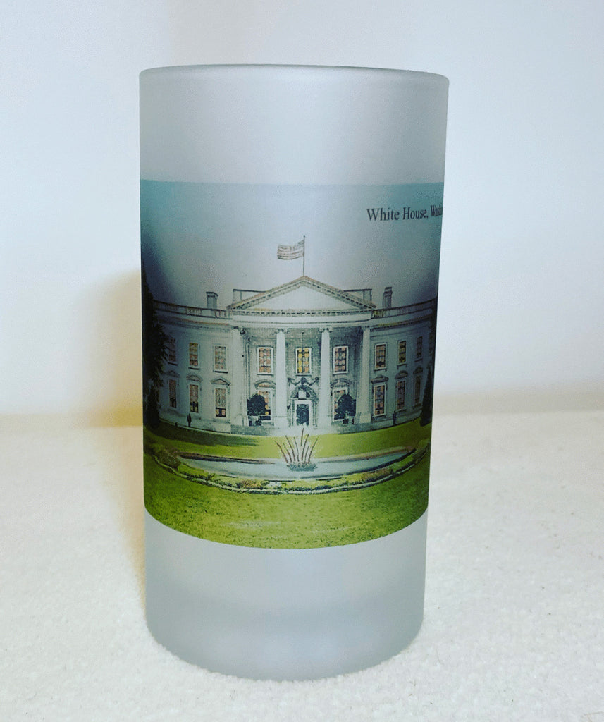 White House Image on Frosted Glass Beer Mug. Great gift