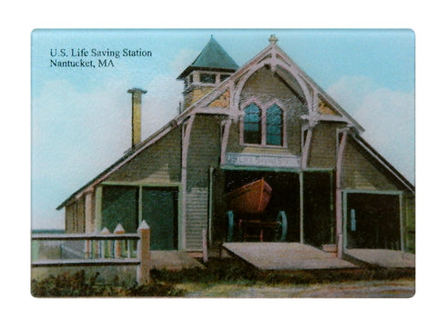 Nantucket Lifesaving Station Glass Cutting Board