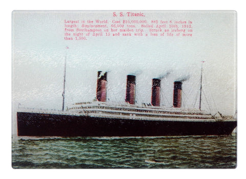 Colorful Tempered Glass Cutting Board of HMS Titanic - That Fabled Shore Home Decor