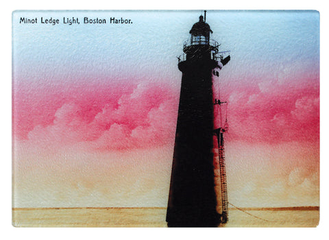 Scituate - Minot Light At Dawn Glass Cutting Board