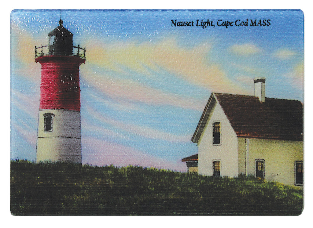 Nauset Light On Cape Cod As Colorful Glass Cutting Board - That Fabled Shore Home Decor