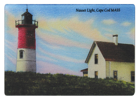 Nauset Light On Cape Cod As Colorful Glass Cutting Board