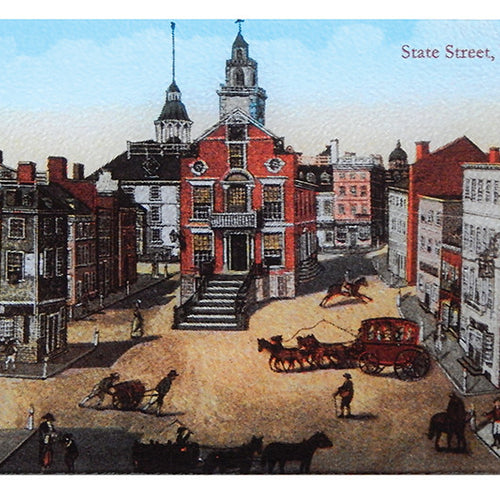 Boston - Colonial State Street Scene As Tempered Glass Cutting Board - That Fabled Shore Home Decor