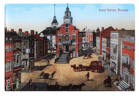 Boston - Colonial State Street Scene As Tempered Glass Cutting Board