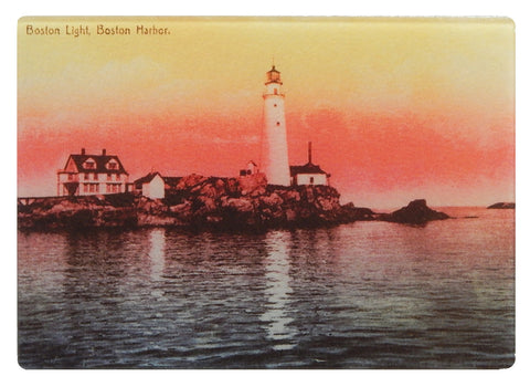 Boston Light At Dawn As Tough And Colorful Tempered Glass Cutting Board - That Fabled Shore Home Decor