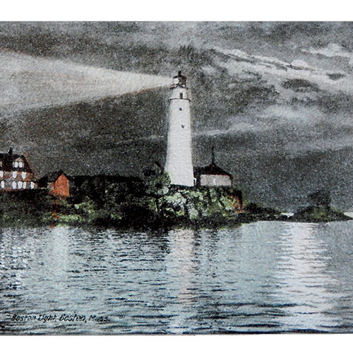 Boston Light in Boston Harbor at Night As Colorful Glass Cutting Board - That Fabled Shore Home Decor