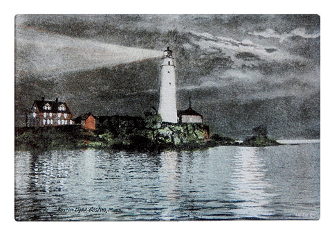 Boston Light in Boston Harbor at Night As Colorful Glass Cutting Board