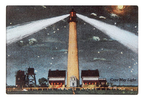 Cape May Light At Night As Glass Cutting Board - That Fabled Shore Home Decor