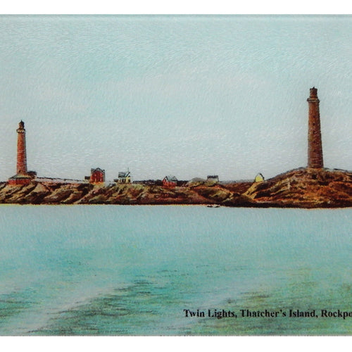 Rockport - Twin Lights, Thatchers Island Cutting Board - That Fabled Shore Home Decor