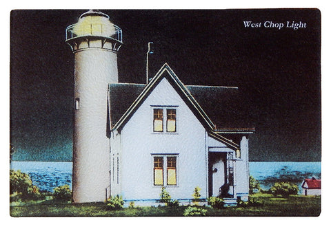 Martha's Vineyard - West Chop Light at Night Glass Cutting Board