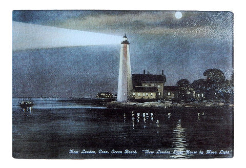 CT - New London Light at Night Glass Cutting Board