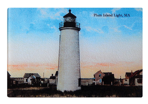 Plum Island Lighthouse Glass Cutting Board