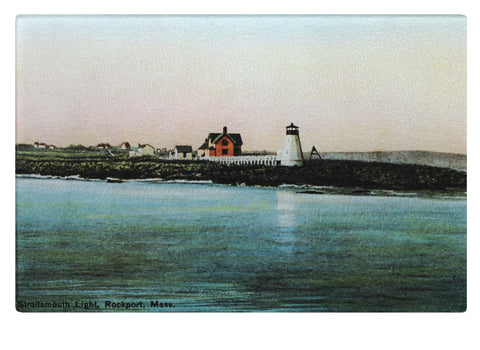 Straitmouth Lighthouse Off Rockport, MA As Colorful Tempered Glass Cutting Board