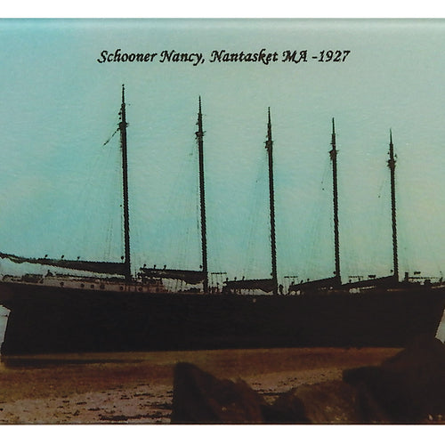 "Nantasket, MA - Schooner ""Nancy On The Sands"" As Colorful Tempered Glass Cutting Board - That Fabled Shore Home Decor"
