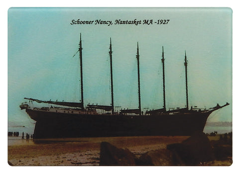 "Nantasket, MA - Schooner ""Nancy On The Sands"" As Colorful Tempered Glass Cutting Board"