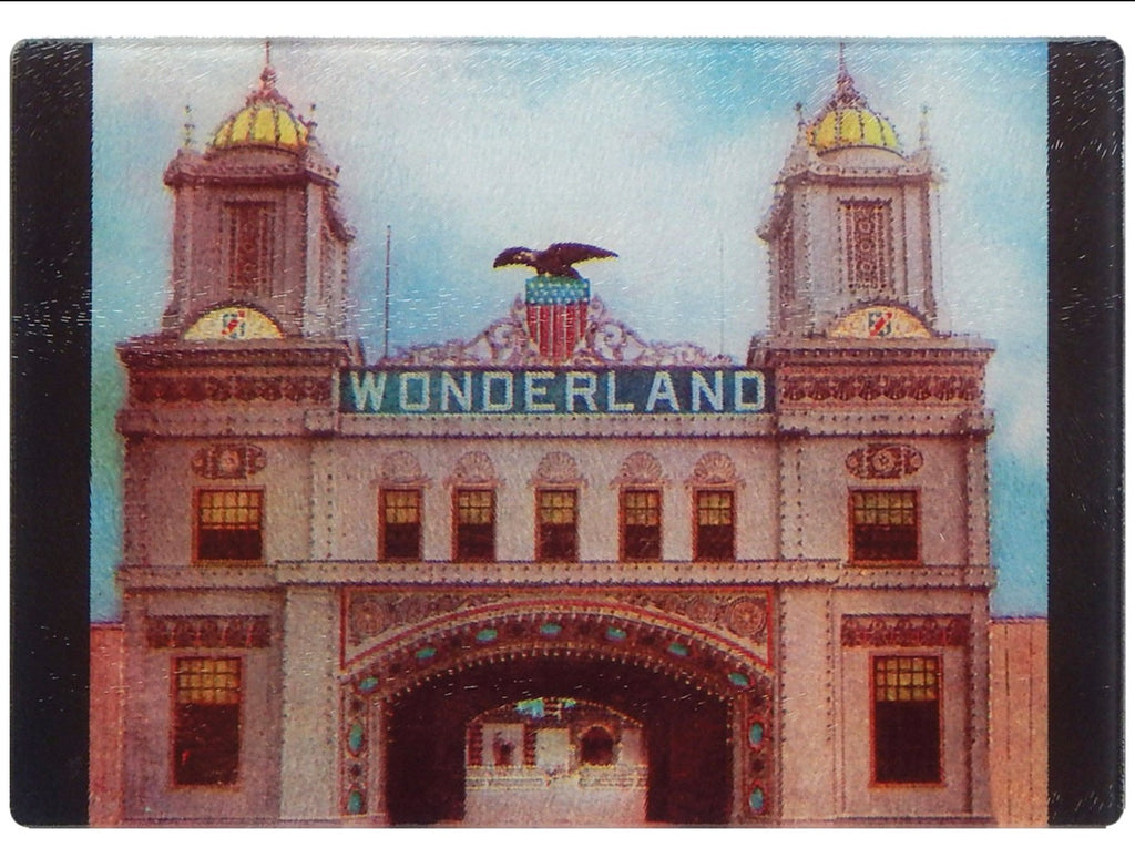 Wonderland In Revere Beach, MA As Colorful Tempered Glass Cutting Board - That Fabled Shore Home Decor