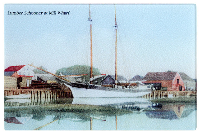 Scituate - Lumber Schooner at Mill Wharf Glass Cutting Board - That Fabled Shore Home Decor