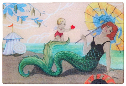 Art Deco Mermaid Tempered Glass Cutting Board - That Fabled Shore Home Decor