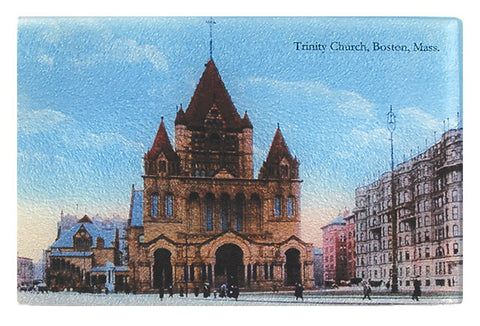 Boston Icon - Copley Square's Trinity Church As Glass Cutting Board - That Fabled Shore Home Decor