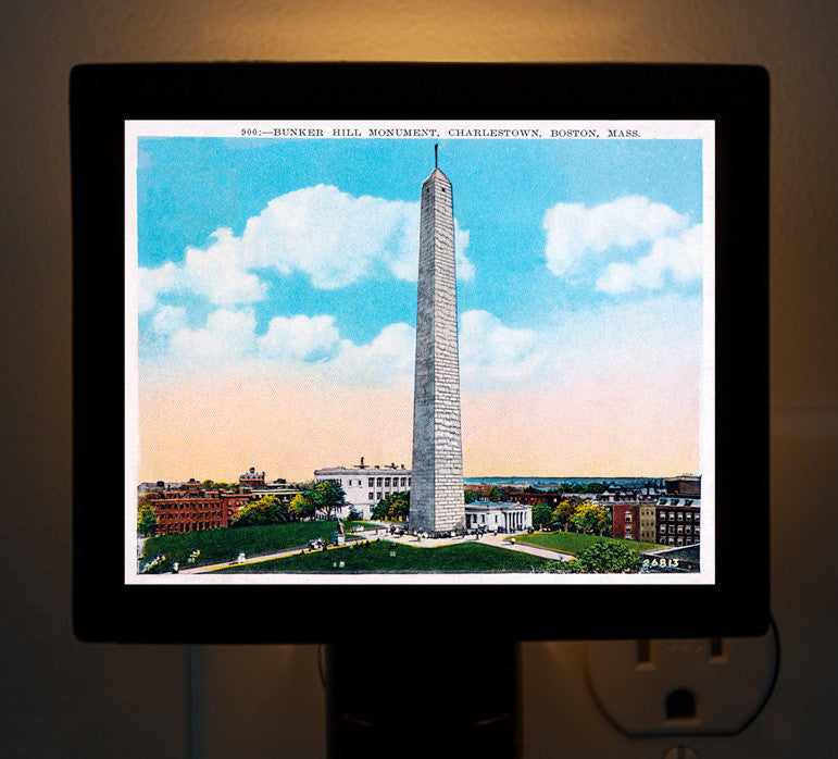 Colorful Bunker Hill Monument Night Light - That Fabled Shore Home Decor