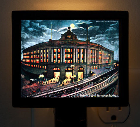 Boston, MA - Early South Station  Night Light - That Fabled Shore Home Decor