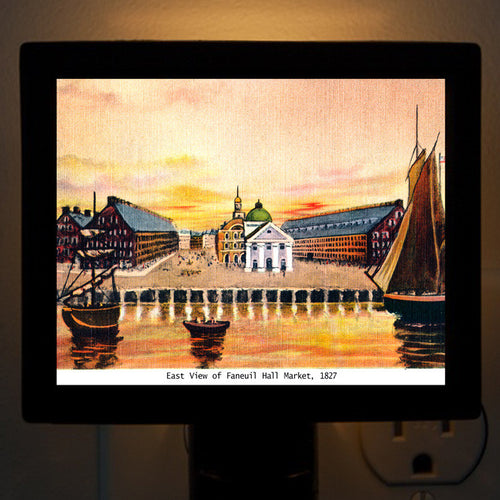 Faneuil Hall And Quincy Market From The Water Circa 1825 Night Light - That Fabled Shore Home Decor
