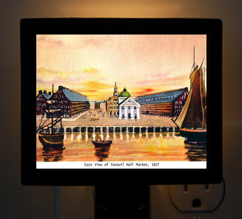 Faneuil Hall And Quincy Market From The Water Circa 1825 Night Light