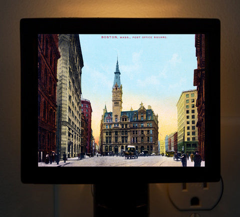 Boston's Post Office Square - Circa 1900 Night Light - That Fabled Shore Home Decor