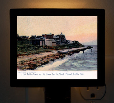 Falmouth Heights From The Wharf - Circa 1900 Night Light - That Fabled Shore Home Decor