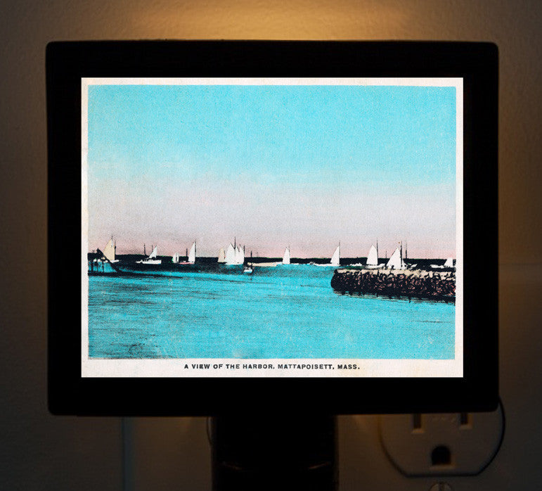 Mattapoisett, MA - View of the Harbor Night Light - That Fabled Shore Home Decor