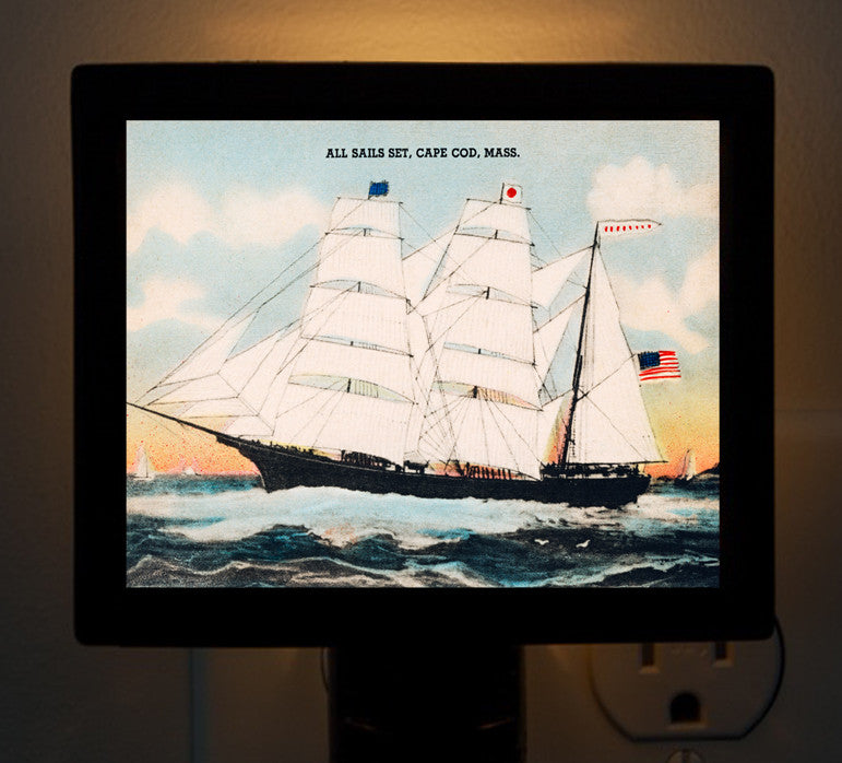 "Night Light - Sailing Ship ""All Sails Set"" - That Fabled Shore Home Decor"