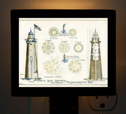 Minot Light Architectural Diagram Night Light - That Fabled Shore Home Decor