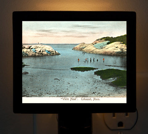 Cohasset, MA - White Head Beach Night Light - That Fabled Shore Home Decor
