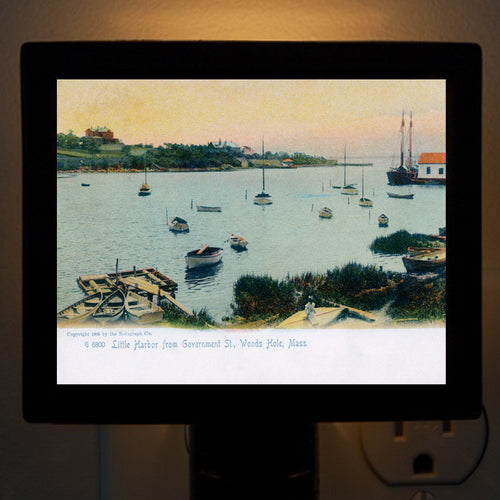 Woods Hole, MA - Little Harbor from Government St Night Light - That Fabled Shore Home Decor