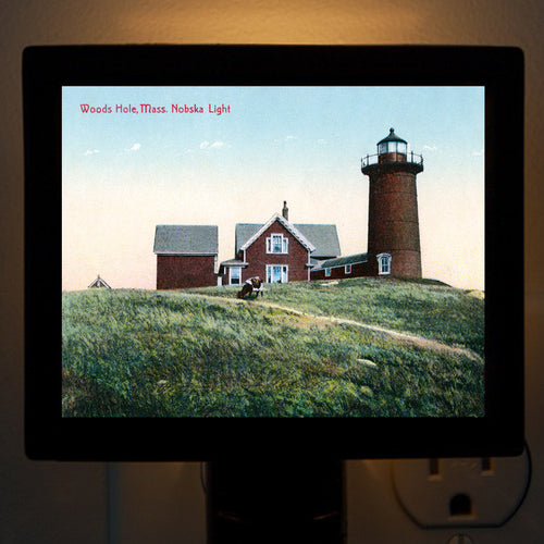 Falmouth Woods Hole - Nobska Light Red Night Light - That Fabled Shore Home Decor