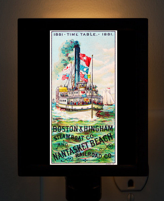 Hingham & Nantasket Steamboat Time Table Night Light - That Fabled Shore Home Decor