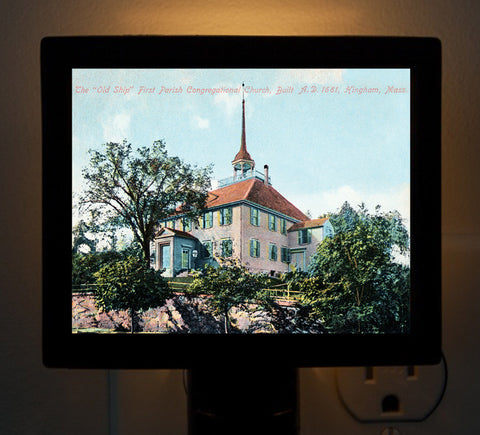 "Hingham - ""Old Ship"" First Parish Congregational Church Night Light - That Fabled Shore Home Decor"