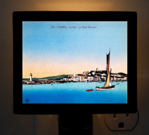 Cannes, France - Le Port - Le Mont Chevalier Night Light