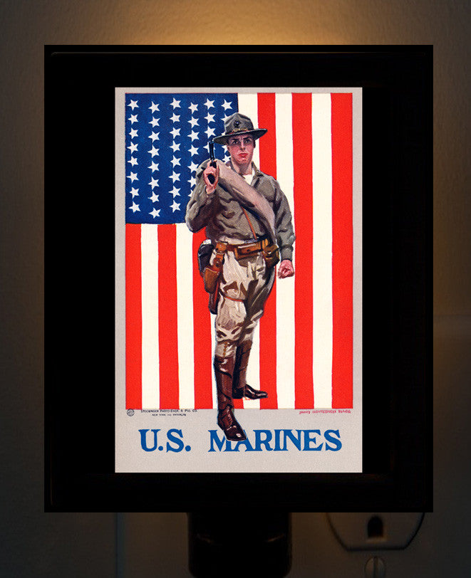 US Marines Recruitment Poster Night Light - That Fabled Shore Home Decor
