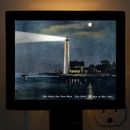 CT - New London Harbor Light House by Moonlight Night Light - That Fabled Shore Home Decor
