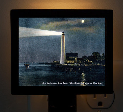 CT - New London Harbor Light House by Moonlight Night Light